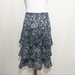 Banana Republic Tiered Floral Midi Skirt